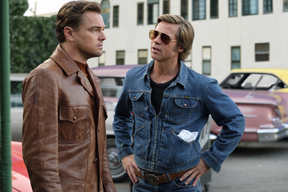 "This image released by Sony Pictures shows Leonardo DiCaprio, left, and Brad Pitt in a scene from ""Once Upon a Time in Hollywood."" On Monday, Jan. 13, the film was nominated for an Oscar for best picture. (Andrew Cooper/Sony via AP)"