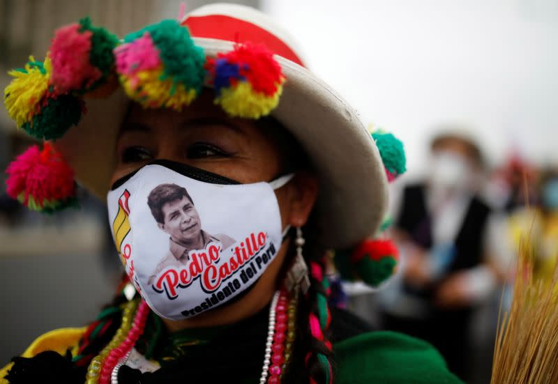 Peruvians march in support of their respective presidential candidates amid polarized election, in Lima
