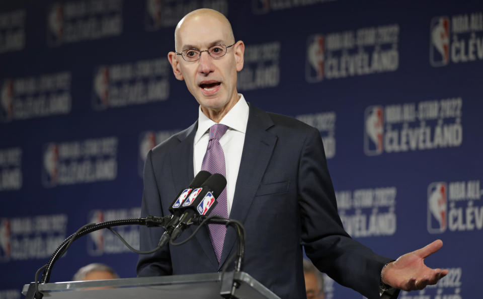 NBA commissioner Adam Silver announced a partnership with Twitter to broadcast games from a player's vantage point. (AP)