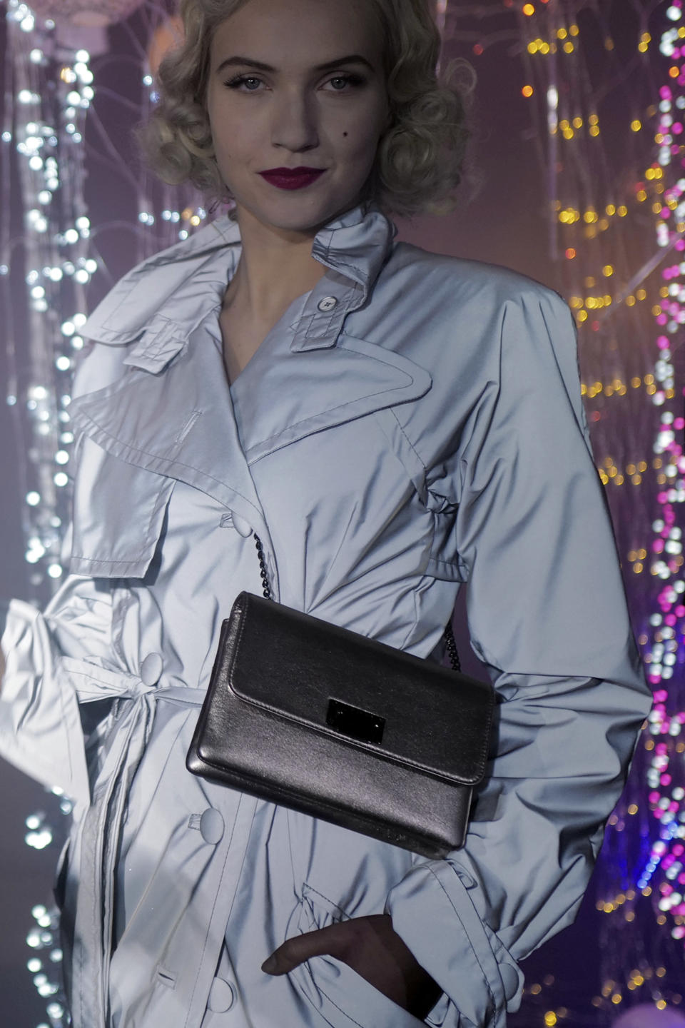 Model Michaela Tomanova displays a creation by Julien Fournie for his Haute Couture Spring/Summer 2021 fashion collection for a digital presentation of the fashion week, in Paris, Thursday, Jan. 7, 2021. With shows taking place behind closed doors due to the virus pandemic, some designers such as Julien Fournie are becoming versatile: Getting their designs out to the public by making a film of their collection and streaming it online. (AP Photo/Francois Mori)