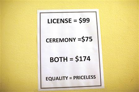 A sign is seen outside the County Clerk's office at City Hall in San Francisco