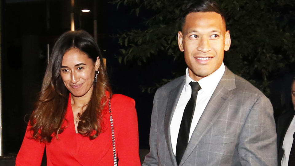 Israel and Maria Folau, pictured here leaving Federal Court after a meeting with Rugby Australia in 2019.