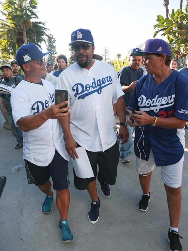 "<p>Rapper Ice Cube's support of the Dodgers goes back a long way — he even once recorded <a href=""http://ktla.com/2013/10/14/ice-cube-releases-dodgers-anthem-2013/"" rel=""nofollow noopener"" target=""_blank"" data-ylk=""slk:a song for the team"" class=""link rapid-noclick-resp""><span>a song for the team</span></a><span>. Naturally, he had to be there for the team's first World Series appearance since 1988. (Photo: BG007/Bauer-Griffin/GC Images)</span> </p>"