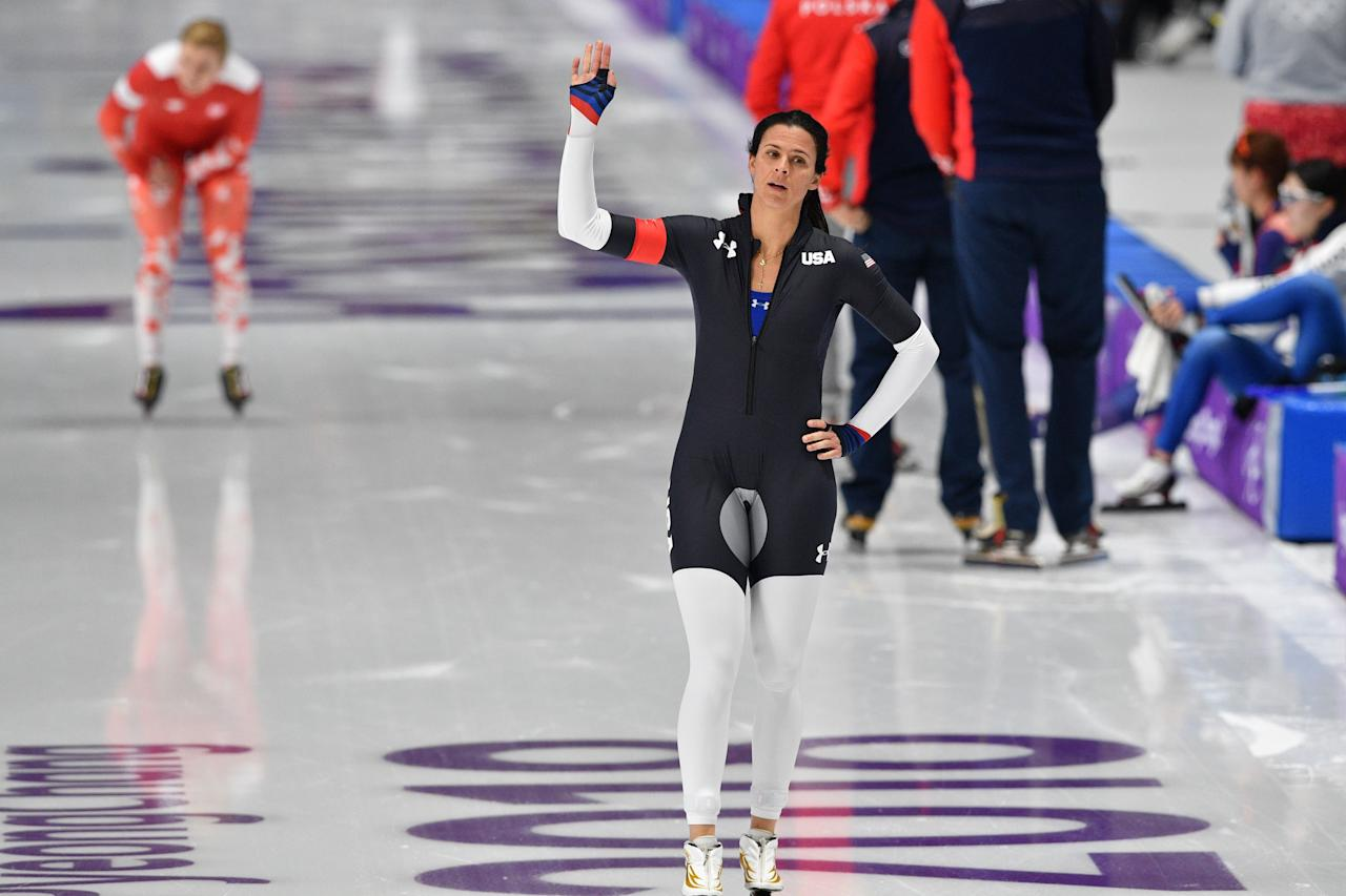<p>USA's Brittany Bowe gestures after competing in the women's 1,500m speed skating event during the Pyeongchang 2018 Winter Olympic Games at the Gangneung Oval in Gangneung on February 12, 2018. / AFP PHOTO / Mladen ANTONOV </p>