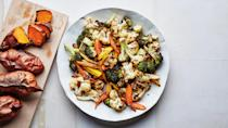 """Roasted vegetables are the perfect, hands-off way to prep healthyish lunches for the week. Use asparagus, brussels sprouts, onions—whatever vegetables you're craving. This recipe is part of the 2019 <a href=""""http://www.bonappetit.com/collection/feel-good-food-plan-2019?mbid=synd_yahoo_rss"""" rel=""""nofollow noopener"""" target=""""_blank"""" data-ylk=""""slk:Feel Good Food Plan"""" class=""""link rapid-noclick-resp"""">Feel Good Food Plan</a>, our ten-day plan for starting the year off right. <a href=""""https://www.bonappetit.com/recipe/meal-prep-roasted-vegetables?mbid=synd_yahoo_rss"""" rel=""""nofollow noopener"""" target=""""_blank"""" data-ylk=""""slk:See recipe."""" class=""""link rapid-noclick-resp"""">See recipe.</a>"""