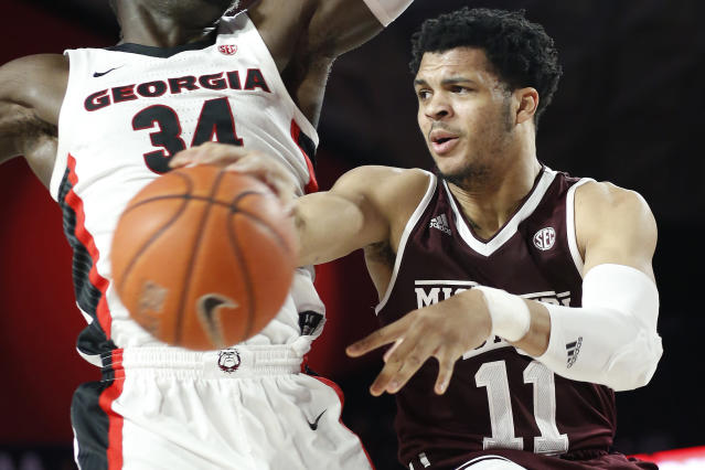 Mississippi State edged Georgia by 1 point on a free throw with 0.5 seconds left. (Joshua L. Jones/Athens Banner-Herald via AP)