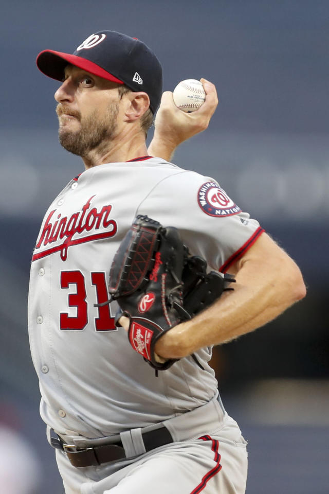 Washington Nationals starter Max Scherzer pitches against the Pittsburgh Pirates in the first inning of a baseball game Thursday, Aug. 22, 2019, in Pittsburgh. (AP Photo/Keith Srakocic)