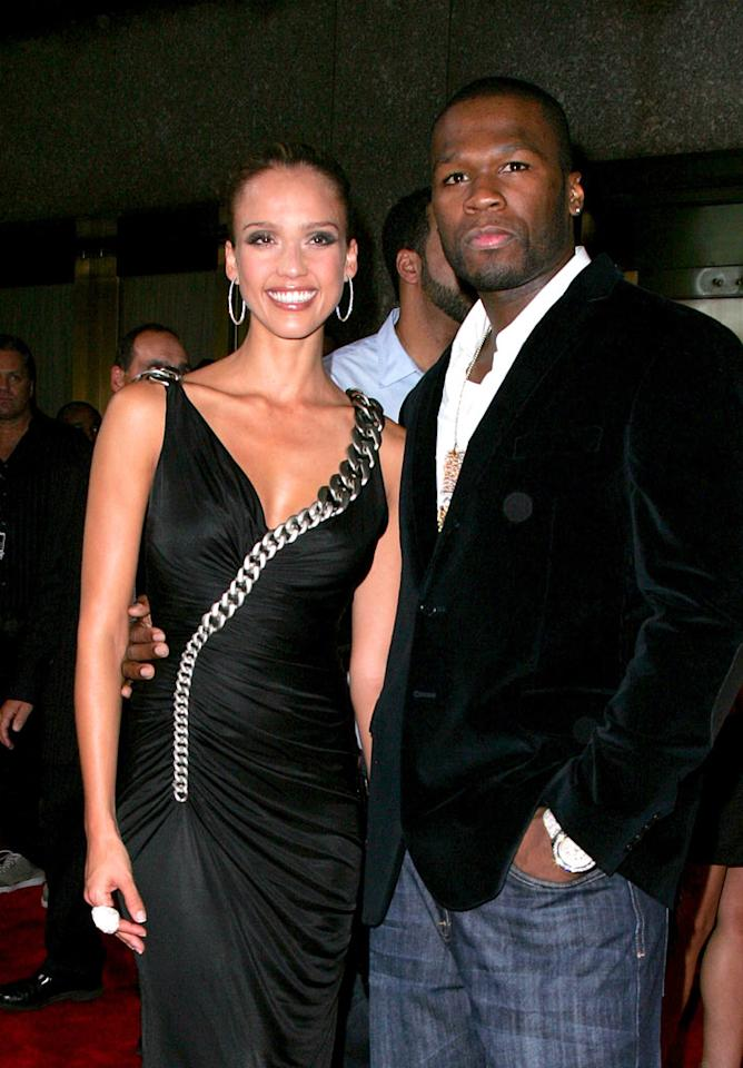 "Jessica Alba poses with a dapper looking 50 Cent. We almost didn't recognize the rapper in his velvet sports coat! James Devaney/<a href=""http://www.wireimage.com"" target=""new"">WireImage.com</a> - September 6, 2007"