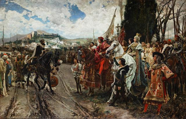 """The Capitulation of Granada, by F. Pradilla: Muhammad XII"": Boabdil surrenders to Ferdinand and Isabella in 1492. (Photo: Wikicommons)"