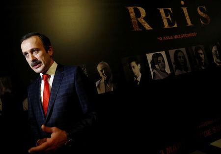 """Actor Reha Beyoglu, who portrays Turkish President Tayyip Erdogan in a biopic titled """"Reis"""", or """"Chief"""", talks to media during a gala screening of the movie in Istanbul, Turkey, February 26, 2017. Picture taken February 26, 2017. REUTERS/Murad Sezer"""