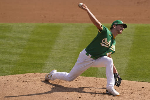Oakland Athletics' Chris Bassitt pitches against the Chicago White Sox during the second inning of Game 2 of an American League wild-card baseball series Wednesday, Sept. 30, 2020, in Oakland, Calif. (AP Photo/Eric Risberg)