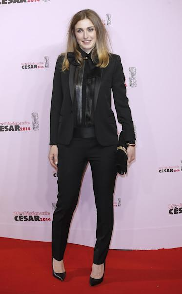 French actress Julie Gayet arrives at the 39th French Cesar Awards Ceremony, in Paris, Friday Feb. 28, 2014. This annual ceremony is presented by the French Academy of Cinema Arts and Techniques. (AP Photo/Lionel Cironneau)
