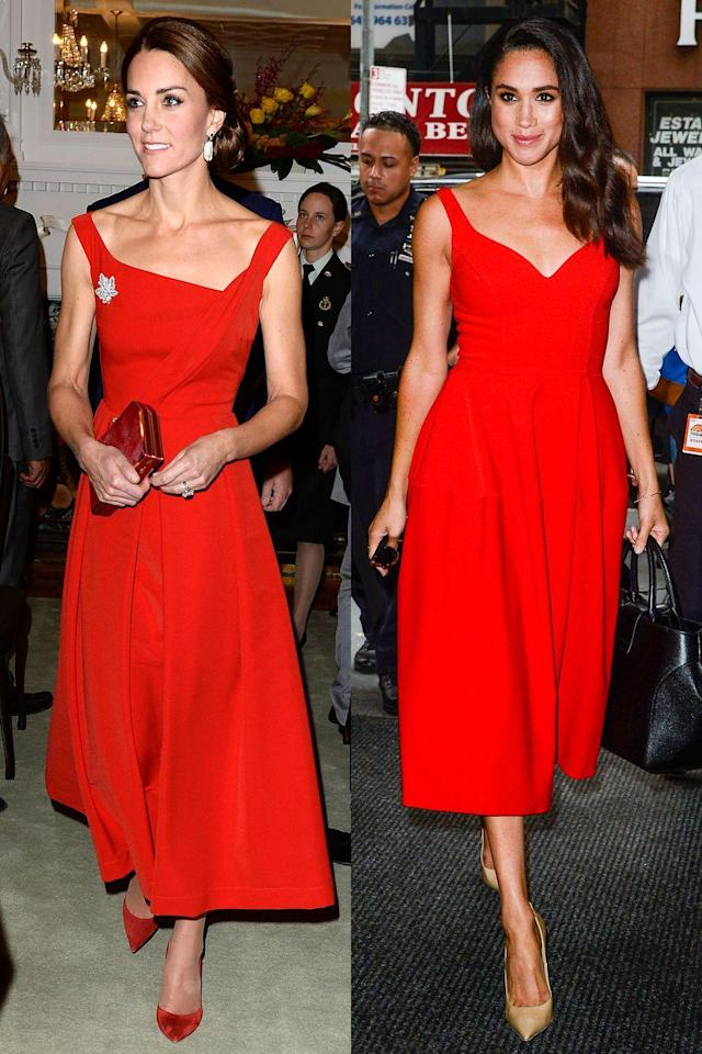 <p>Kate and Meghan aren't afraid to rock bold hues. Kate wore red while in Canada on an official visit; Meghan sported the color to a <em>Today</em> show taping in New York City.</p>