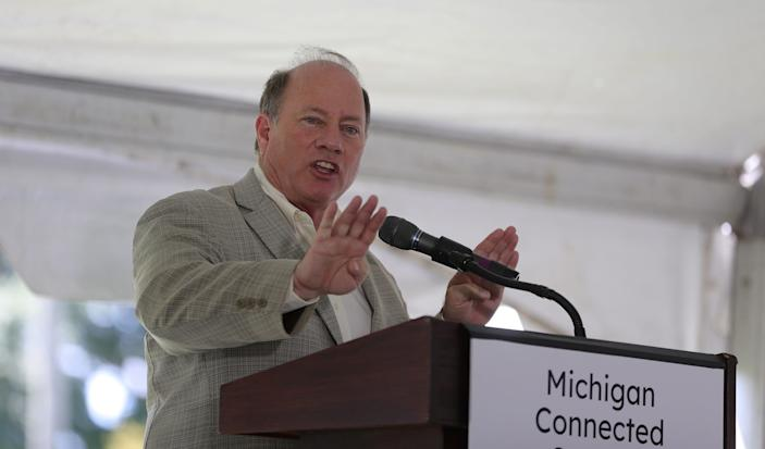 Mayor Mike Duggan talks about the infrastructure for a new Michigan Connected Corridor for self-driving cars that will run between Ann Arbor and Detroit on August 13, 2020.