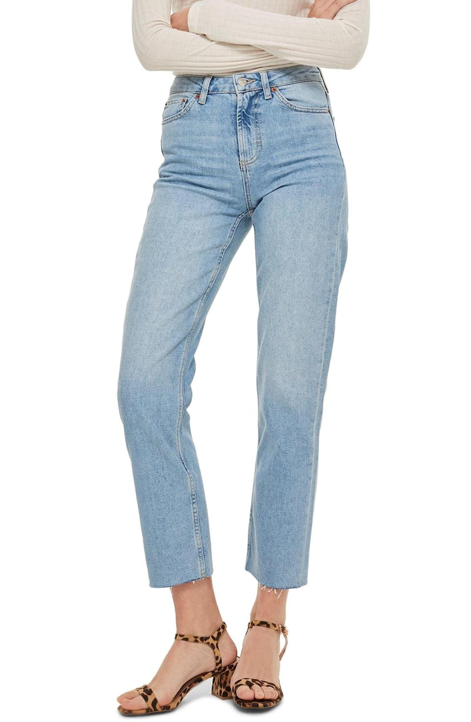 <p>These <span>Topshop High-Waist Raw-Hem Straight-Leg Jeans</span> ($75) fit so well. We like them as everyday staples.</p>