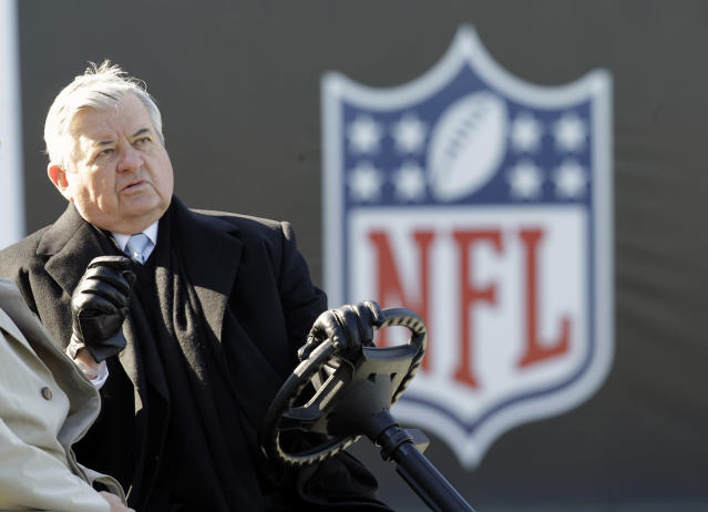 "Former <a class=""link rapid-noclick-resp"" href=""/nfl/teams/car"" data-ylk=""slk:Carolina Panthers"">Carolina Panthers</a> owner Jerry Richardson was fined $2.75 million by the NFL. (AP)"