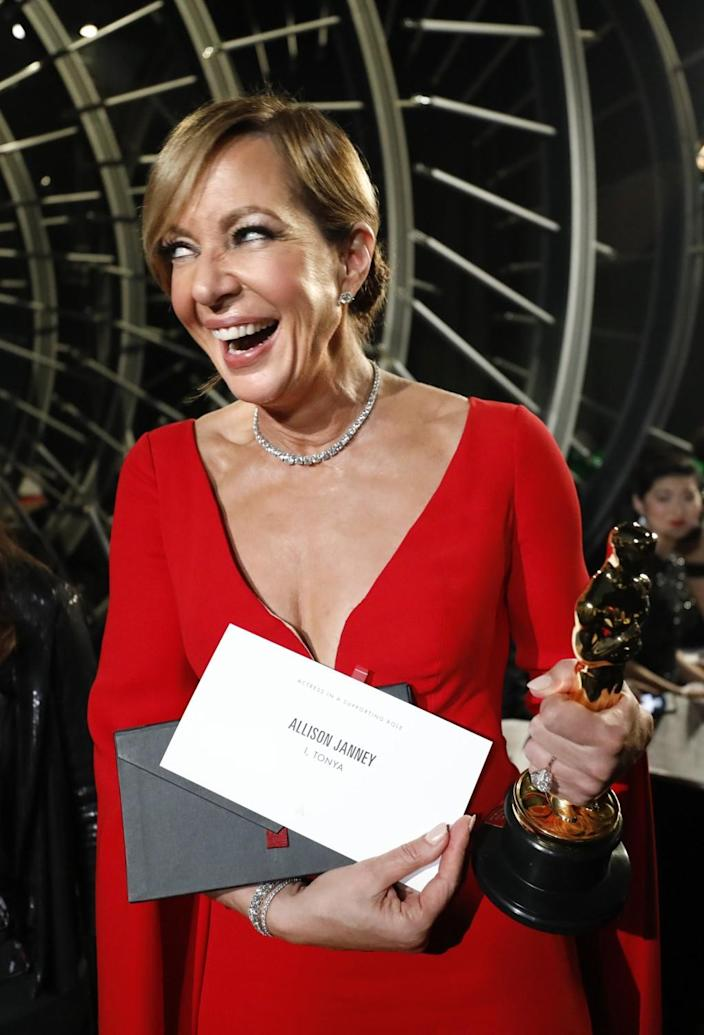 """2018: Allison Janney beams with joy while showing off her Oscar and """"the envelope, please."""""""