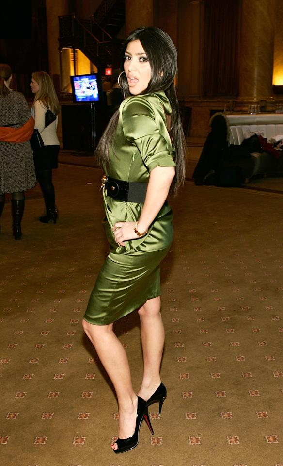 Kim Kardashian poses backstage at the Nicole Romano Fall 2007 fashion show at Capitale during New York Fashion Week February 4, 2007 in New York City. Photo courtesy of Getty Images.