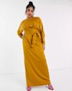 """Class it up in this stunning high-neck marigold dress that's perfect for fall ceremonies. $71, ASOS. <a href=""""https://www.asos.com/us/asos-curve/asos-design-curve-wrap-waist-batwing-sleeve-maxi-dress/prd/22206974?colourwayid=60381379&cid=8799"""" rel=""""nofollow noopener"""" target=""""_blank"""" data-ylk=""""slk:Get it now!"""" class=""""link rapid-noclick-resp"""">Get it now!</a>"""