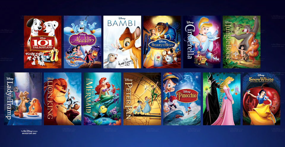 Two rows of Disney movie DVDs, including Snow White, The Lion King, Beauty and the Beast, and Peter Pan.
