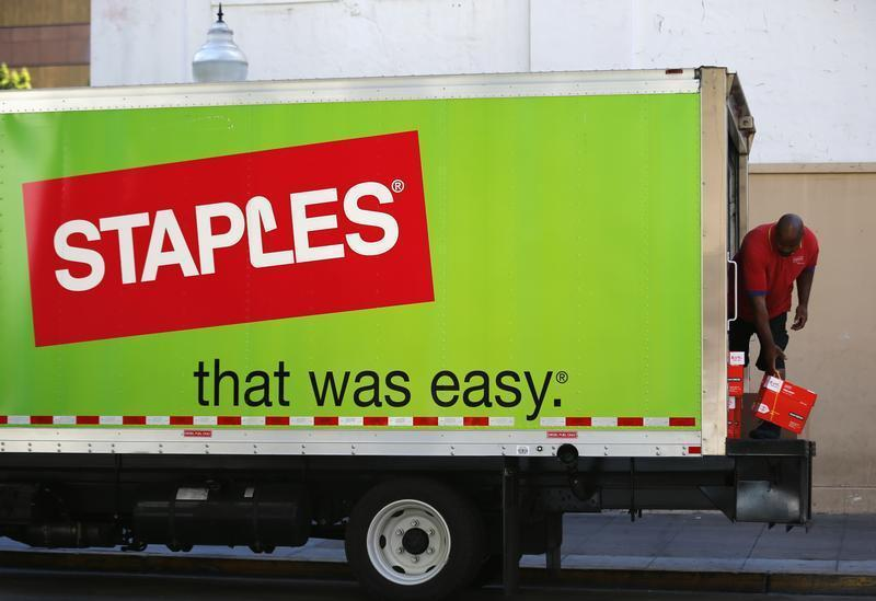 A Staples truck delivers office supplies in San Diego
