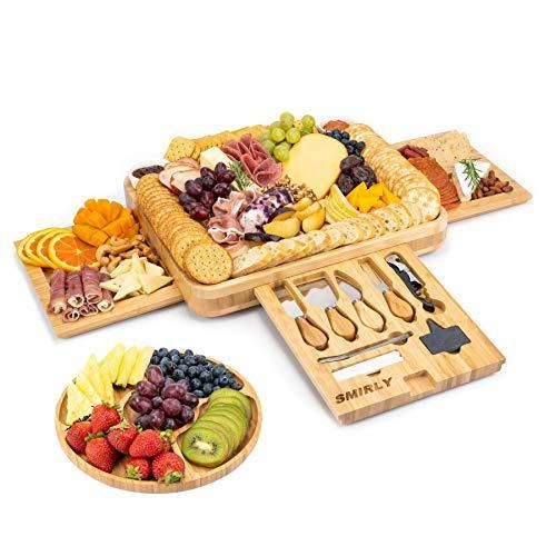 SMIRLY Cheese Board and Knife Set: 16 x 13 x 2 Inch Wood Charcuterie Platter