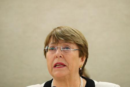 UN High Commissioner for Human Rights Bachelet attends a session of the Human Rights Council in Geneva