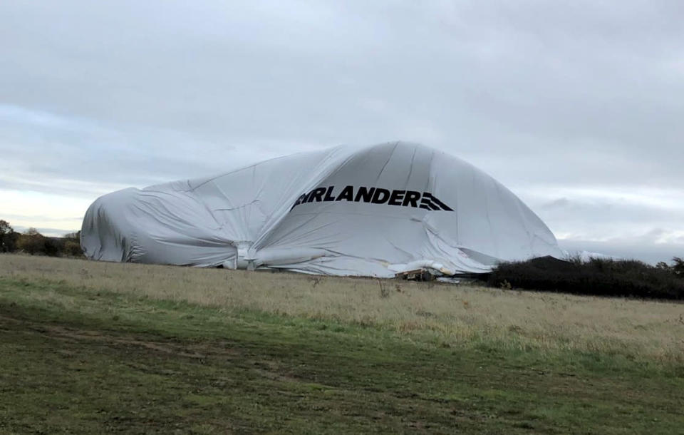 <em>Unlucky – it's not the first time the Airlander's first collision, after crashing in its second ever UK flight last year</em>