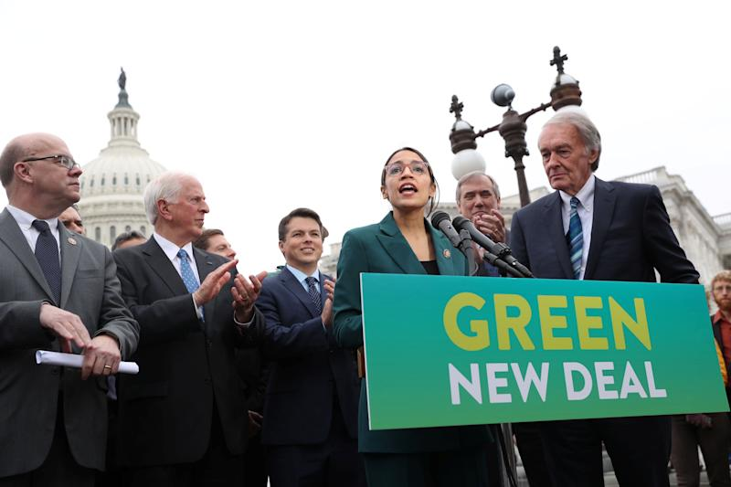 "U.S. Representative Alexandria Ocasio-Cortez (D-NY) and Senator Ed Markey (D-MA) hold a news conference for their proposed ""Green New Deal"" to achieve net-zero greenhouse gas emissions in 10 years, at the U.S. Capitol in Washington, Feb. 7, 2019. (Photo: Jonathan Ernst/Reuters)"