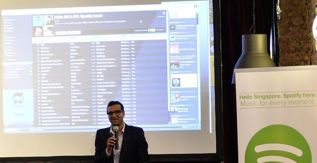 Sriram Krishnan, head of new markets in Asia-Pacific, speaking at the official launch. (Spotify Photo)
