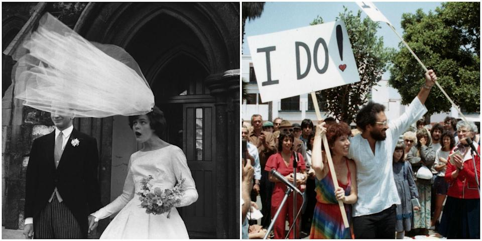 <p>Wedding trends come and go, making a look through the celebrations of yesteryear a delightful chance to see just how much things have changed. From polyester bridesmaid dresses to a daring groom who <em>kissed</em> a bridesmaid, here's a peek into the past that you won't soon forget. </p>