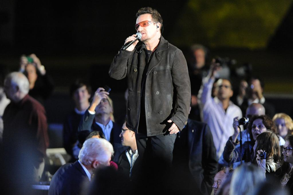"""Bono performs at the """"A Decade of Difference"""" concert on October 15, 2011, at the Hollywood Bowl, Los Angeles. <br><br>(Photo by Stephanie Cabral/Yahoo!)"""