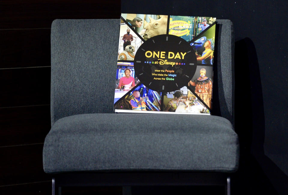 """ANAHEIM, CA - AUGUST 22: Ricky Strauss, president, content and marketing for Disney+ and Good Morning America, that""""u2019s the new 224 page coffee table book and documentary series titled, One Day, during a media preview at the D23 Expo in Anaheim, CA, on Thursday, Aug. 22, 2019. The book and series was takes a day-in-the-life look at Disney employees on February 21, 2019.""""n(Photo by Jeff Gritchen/MediaNews Group/Orange County Register via Getty Images) """"n""""n"""