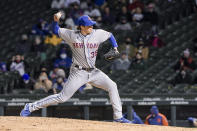 New York Mets relief pitcher Trevor Hildenberger (35) throws against the Chicago Cubs during the fifth inning of a baseball game Wednesday, April 21, 2021, in Chicago. (AP Photo/Mark Black)