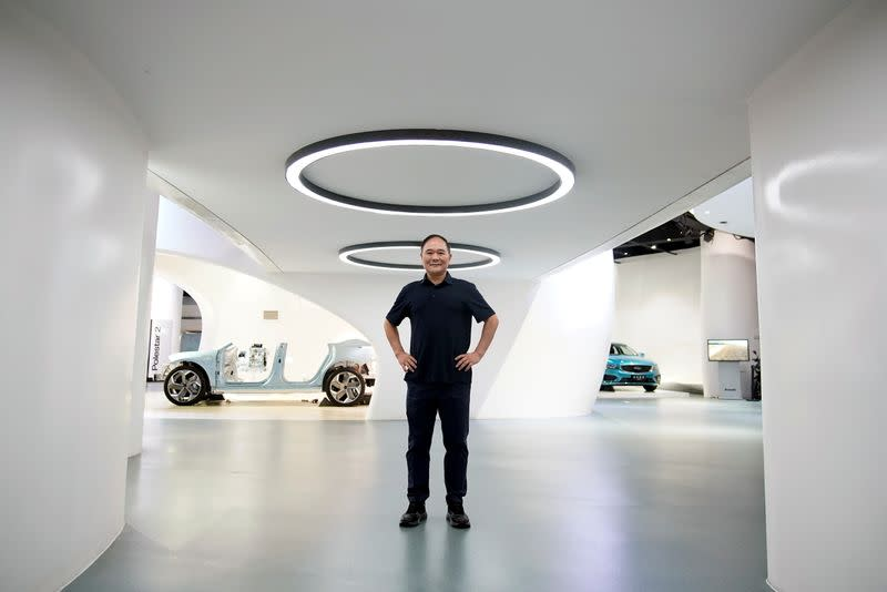 Zhejiang Geely Holding Group's Chairman Li Shufu poses for pictures at Geely headquarters in Hangzhou