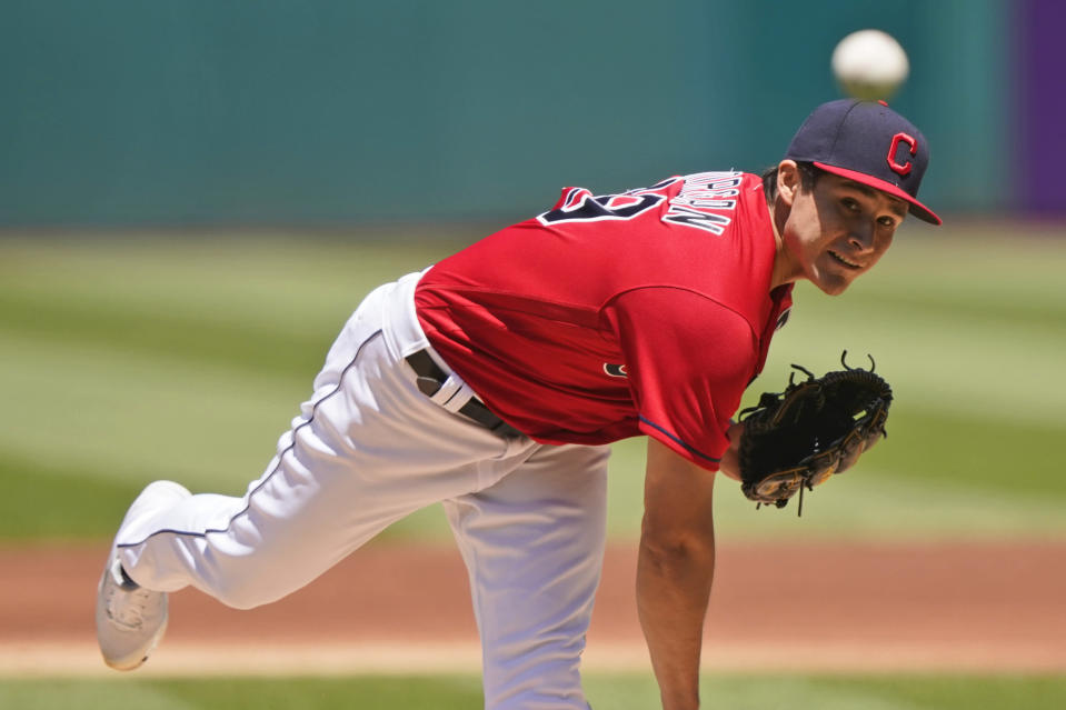 Cleveland Indians starting pitcher Eli Morgan delivers in the first inning of a baseball game against the Baltimore Orioles, Thursday, June 17, 2021, in Cleveland. (AP Photo/Tony Dejak)