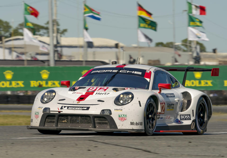 <em>The redesigned Porsche 911 RSR-19 was driven to a third place in the season-opening Rolex 24 at Daytona by the No. 912 team drivers Earl Bamber, Laurens Vanthoor and Mathieu Jaminet (Andrew Bershaw/Icon Sportswire via Getty Images).</em>