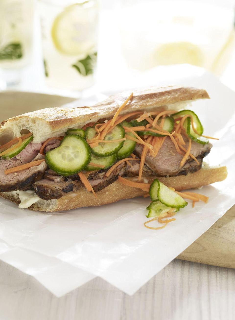 "<p>This sandwich borrows the bold flavors and fillings of the banh mi, the trendy Vietnamese street-stall sub.</p><p><a href=""https://www.goodhousekeeping.com/food-recipes/a10311/lemongrass-pork-sandwich-recipe-ghk0810/"" rel=""nofollow noopener"" target=""_blank"" data-ylk=""slk:Get the recipe for Lemongrass Pork Sandwich »"" class=""link rapid-noclick-resp""><em>Get the recipe for Lemongrass Pork Sandwich »</em></a></p>"