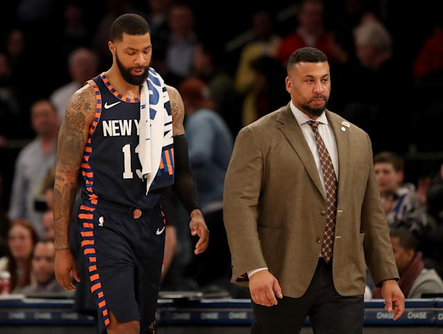 Marcus Morris Sr. of the New York Knicks is ejected from the game in the final minutes for his role in the scuffle between teammate Elfrid Payton #6 and Jae Crowder #99 of the Memphis Grizzlies at Madison Square Garden on January 29, 2020 in New York City. The Memphis Grizzlies defeated the New York Knicks 127-106. (Elsa/Getty Images)