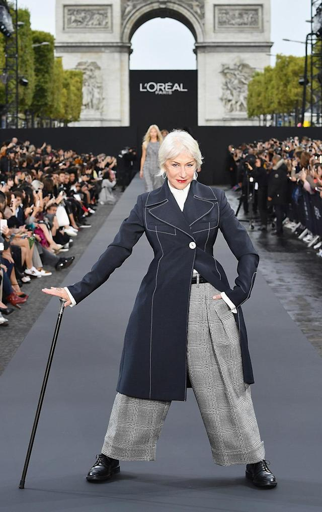 <p>No surprise, Mirren killed it when she walked the runway for L'Oréal at Paris Fashion Week. (Photo: Pascal Le Segretain/Getty Images for L'Oreal Paris) </p>
