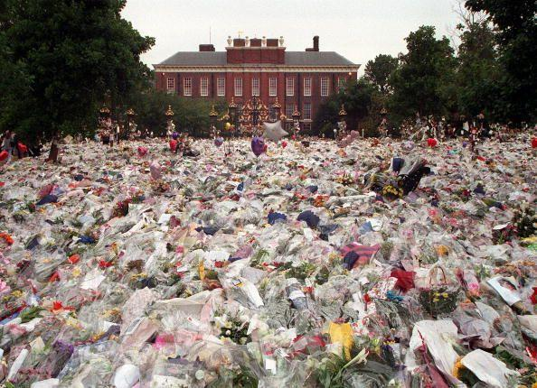 """<p>In August 1997, news broke that Princess Diana had passed away in a tragic car crash in Paris. People all around the world mourned and flooded to Kensington Palace and Buckingham Palace to pay their respects. She was dubbed """"the People's Princess"""" and the royal family's silence following Diana's death <a href=""""http://rd.com/culture/princess-dianas-death-almost-ended-monarchy/"""" rel=""""nofollow noopener"""" target=""""_blank"""" data-ylk=""""slk:prompted outrage from citizens"""" class=""""link rapid-noclick-resp"""">prompted outrage from citizens</a>...so much that Queen Elizabeth addressed the nation in a televised speech, which had never been done before. </p>"""
