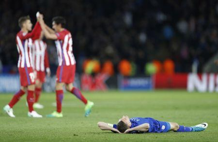 Leicester City's Jamie Vardy looks dejected after the match