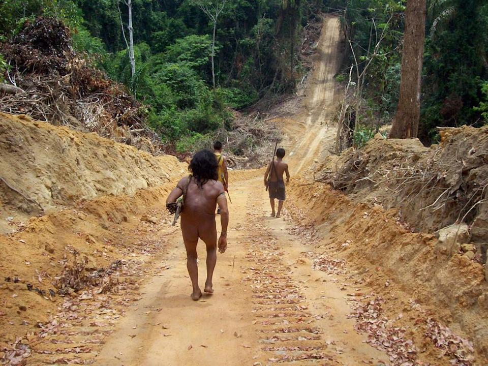 Awá villagers on a road built illegally by loggers through indigenous land in Maranhão state.