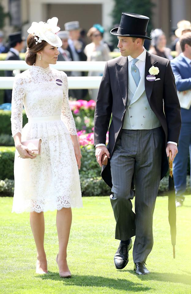 """<p><strong>When:</strong> June 20, 2017 <strong>Where:</strong> Royal Ascot horse races in Ascot, England <strong>Wearing:</strong> Alexander McQueen white lace dress <strong>Get the Look:</strong> Alexander McQueen Lace Mini Dress, $5,095; <a rel=""""nofollow"""" href=""""https://click.linksynergy.com/fs-bin/click?id=93xLBvPhAeE&subid=0&offerid=255436.1&type=10&tmpid=20348&RD_PARM1=https%253A%252F%252Fwww.farfetch.com%252Fca%252Fshopping%252Fwomen%252Falexander-mcqueen-lace-mini-dress-item-11890244.aspx&u1=POROYALSCopyKateMM"""">farfetch.com</a> Anthropologie Darling Dress, $440; <a rel=""""nofollow"""" href=""""https://click.linksynergy.com/fs-bin/click?id=93xLBvPhAeE&subid=0&offerid=503788.1&type=10&tmpid=16680&RD_PARM1=https%3A%2F%2Fwww.anthropologie.com%2Fshop%2Fdarling-dress%3Fcategory%3DSEARCHRESULTS%2526color%3D011&u1=POROYALSCopyKateMM"""">anthropologie.com</a> Taylor Dresses Lace Sheath Dress, $139; <a rel=""""nofollow"""" href=""""https://click.linksynergy.com/fs-bin/click?id=93xLBvPhAeE&subid=0&offerid=390098.1&type=10&tmpid=8157&RD_PARM1=http%253A%252F%252Fshop.nordstrom.com%252Fs%252Ftaylor-dresses-lace-sheath-dress%252F4587873%253Forigin%253Dkeywordsearch-personalizedsort%2526fashioncolor%253DWHITE&u1=POROYALSCopyKateMM"""">nordstrom.com</a> Jessica Howard Lace Illusion Sheath Dress, $89; <a rel=""""nofollow"""" href=""""https://click.linksynergy.com/fs-bin/click?id=93xLBvPhAeE&subid=0&offerid=486467.1&type=10&tmpid=1513&RD_PARM1=https%3A%2F%2Fwww.macys.com%2Fshop%2Fproduct%2Fjessica-howard-lace-illusion-sheath-dress%3FID%3D4381331%2526CategoryID%3D5449%2526LinkType%3D%2526selectedSize%3D%2526swatchColor%3DIvory%2FKhaki&u1=POROYALSCopyKateMM"""">macys.com</a></p>"""