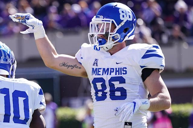 Memphis tight end Joey Magnifico wasn't on the NFL combine invite list. (Photo by Greg Thompson/Icon Sportswire via Getty Images)