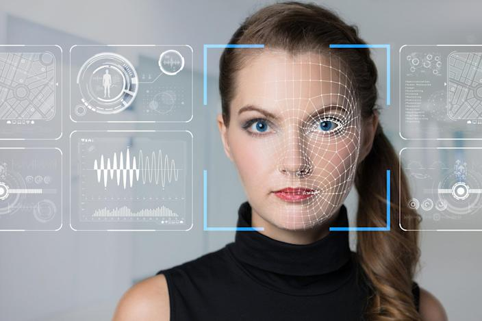Graphic depicting advanced facial recognition tech being used on a young woman.