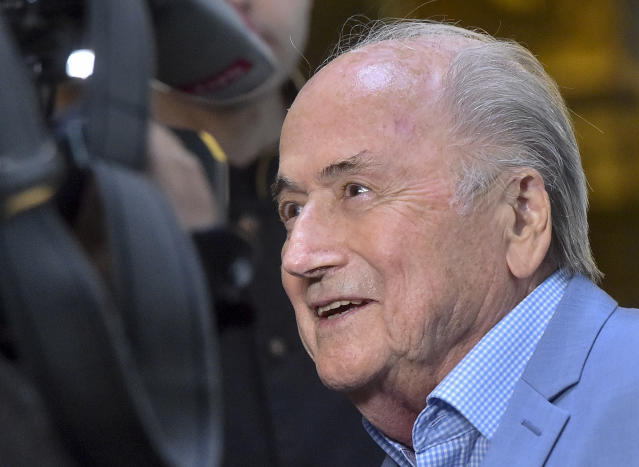 Former FIFA President Joseph Blatter arrives at a hotel in Moscow, Russia, Tuesday, June 19, 2018. Suspended former FIFA president Sepp Blatter has arrived in Moscow for a World Cup visit at the invitation of Russian President Vladimir Putin. (AP Photo/Dmitry Serebryakov)