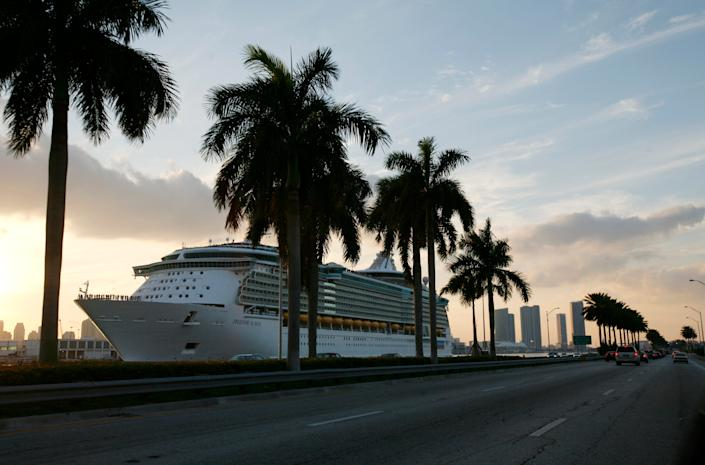 """The Royal Caribbean Freedom of the Seas docked in Miami in 2008. <p class=""""copyright"""">Lynne Sladky/AP</p>"""