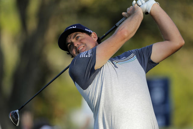 Keegan Bradley tees off on the ninth hole during the first round of The Players Championship golf tournament Thursday, March 14, 2019, in Ponte Vedra Beach, Fla. (AP Photo/Gerald Herbert)