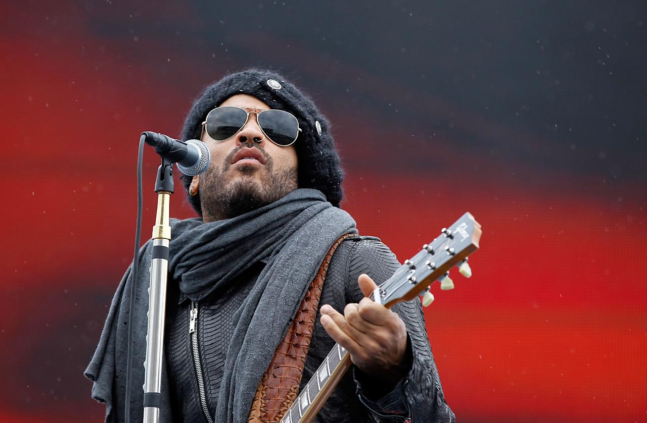 DAYTONA BEACH, FL - FEBRUARY 26:  Lenny Kravitz performs during driver introductions prior to the start of the NASCAR Sprint Cup Series Daytona 500 at Daytona International Speedway on February 26, 2012 in Daytona Beach, Florida.  (Photo by Streeter Lecka/Getty Images)